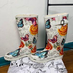 Anuschka flower and butterfly rain boots sz 10 new